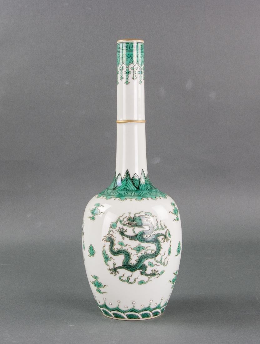 Chinese Qing Green Gilt Porcelain Vase Qianlong MK