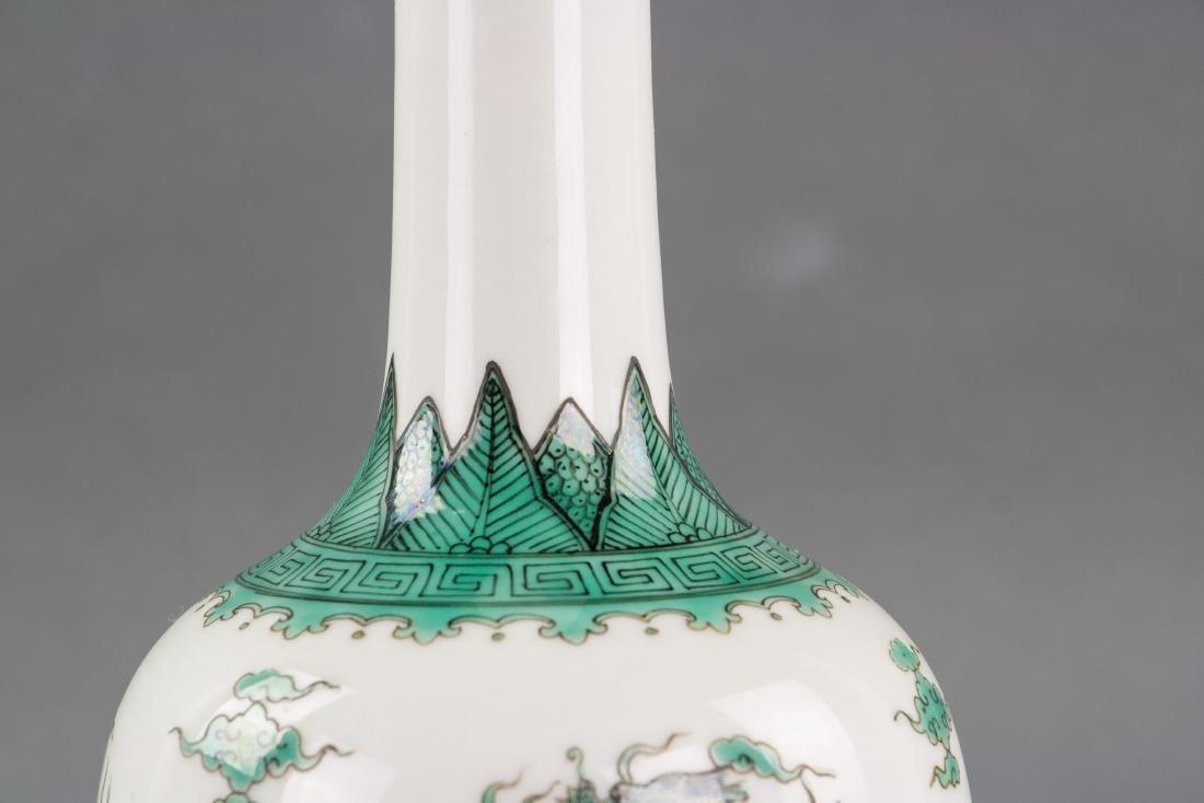 Chinese Qing Green Gilt Porcelain Vase Qianlong MK - 3