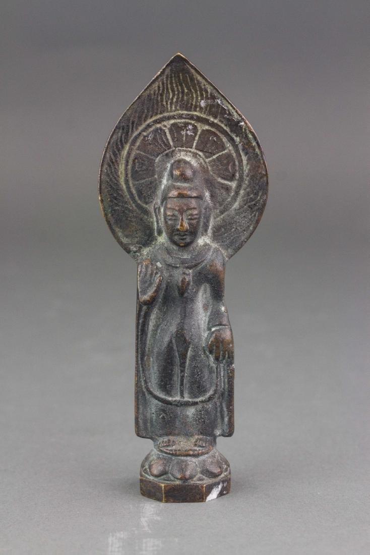 Chinese Old Bronze Standing Buddha Figure