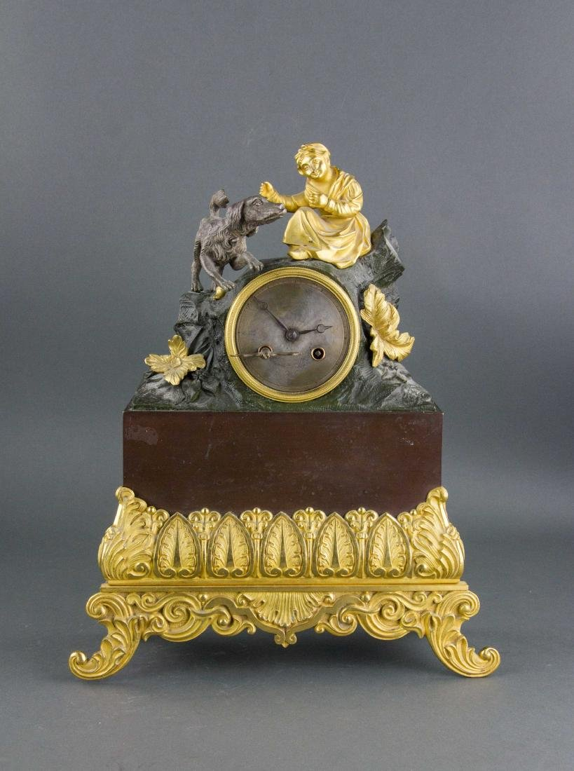 Old European Gilt Table Clock Working Condition