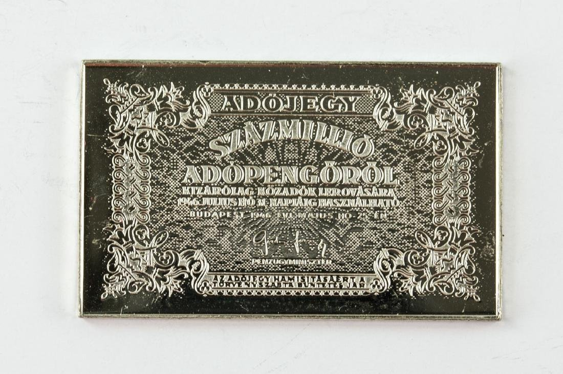 Hungarian Fine Silver Commemorative Art Bar