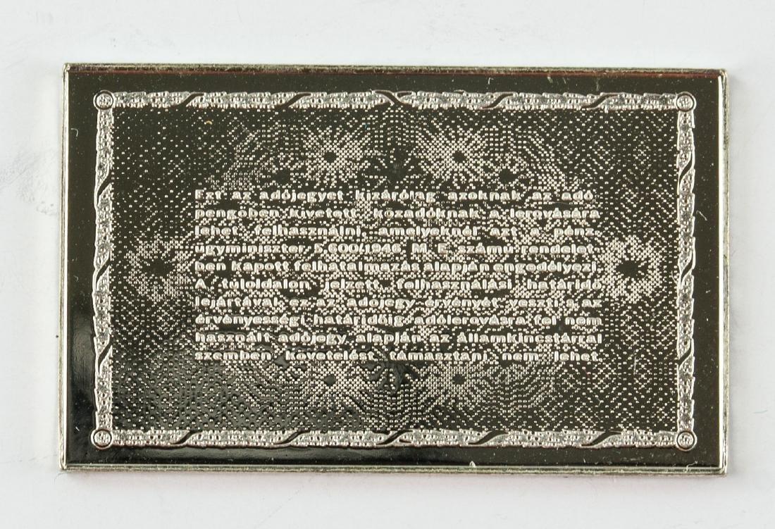 Hungarian Fine Silver Commemorative Art Bar - 2