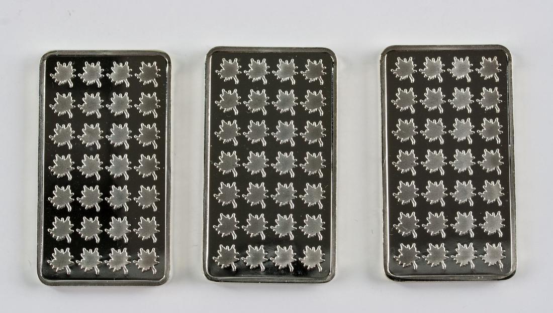 Three 1 Troy Ounce Fine Silver Bullion Bar Mint - 2