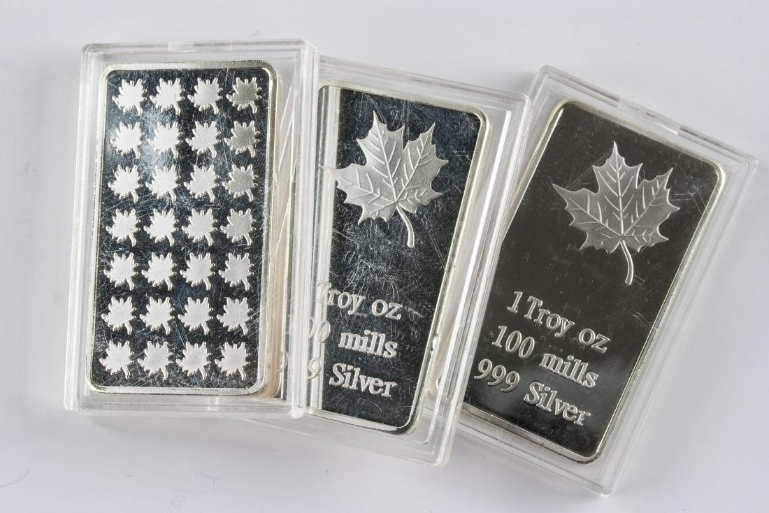 Three 1 Troy Ounce Fine Silver Bullion Bar Mint - 5