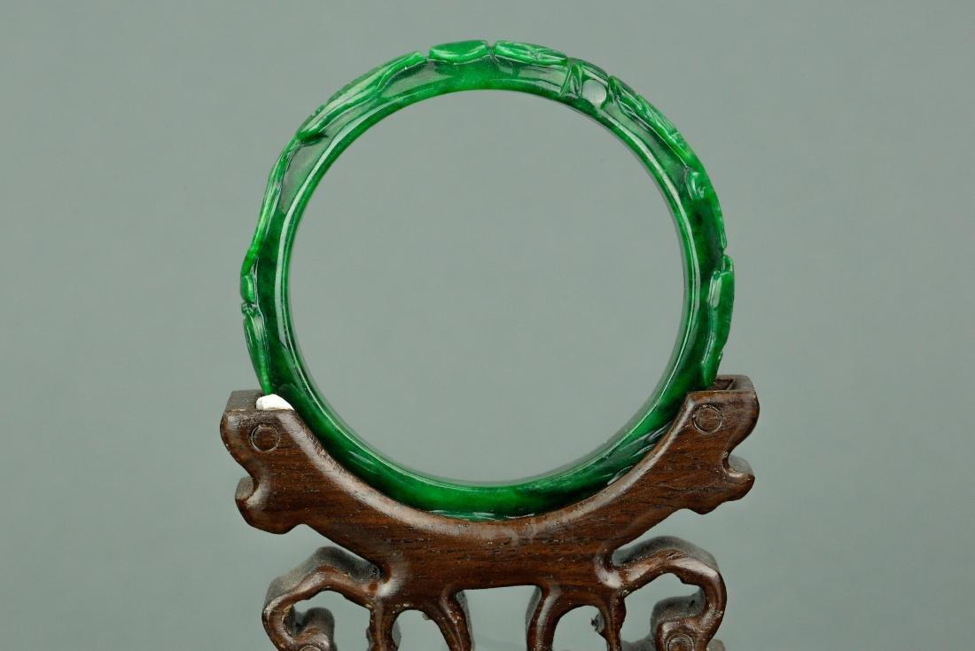 Chinese Jadeite Carved Bangle - 4