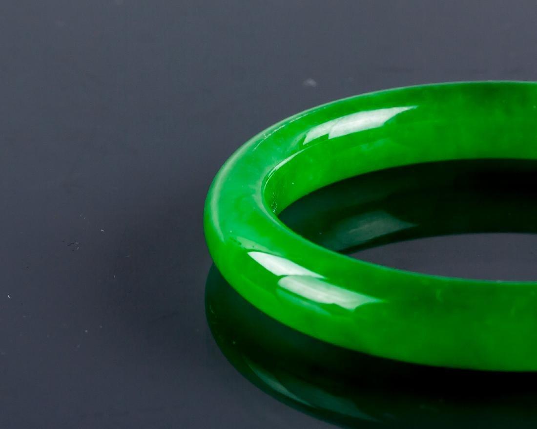 Burma Green Jadeite Carved Bangle GIA Certificate - 2