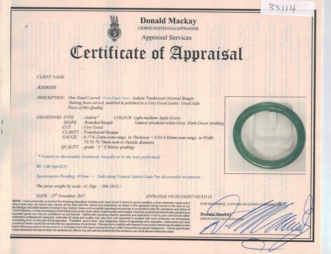 Burma Green Jadeite Carved Bangle GIA Certificate - 4