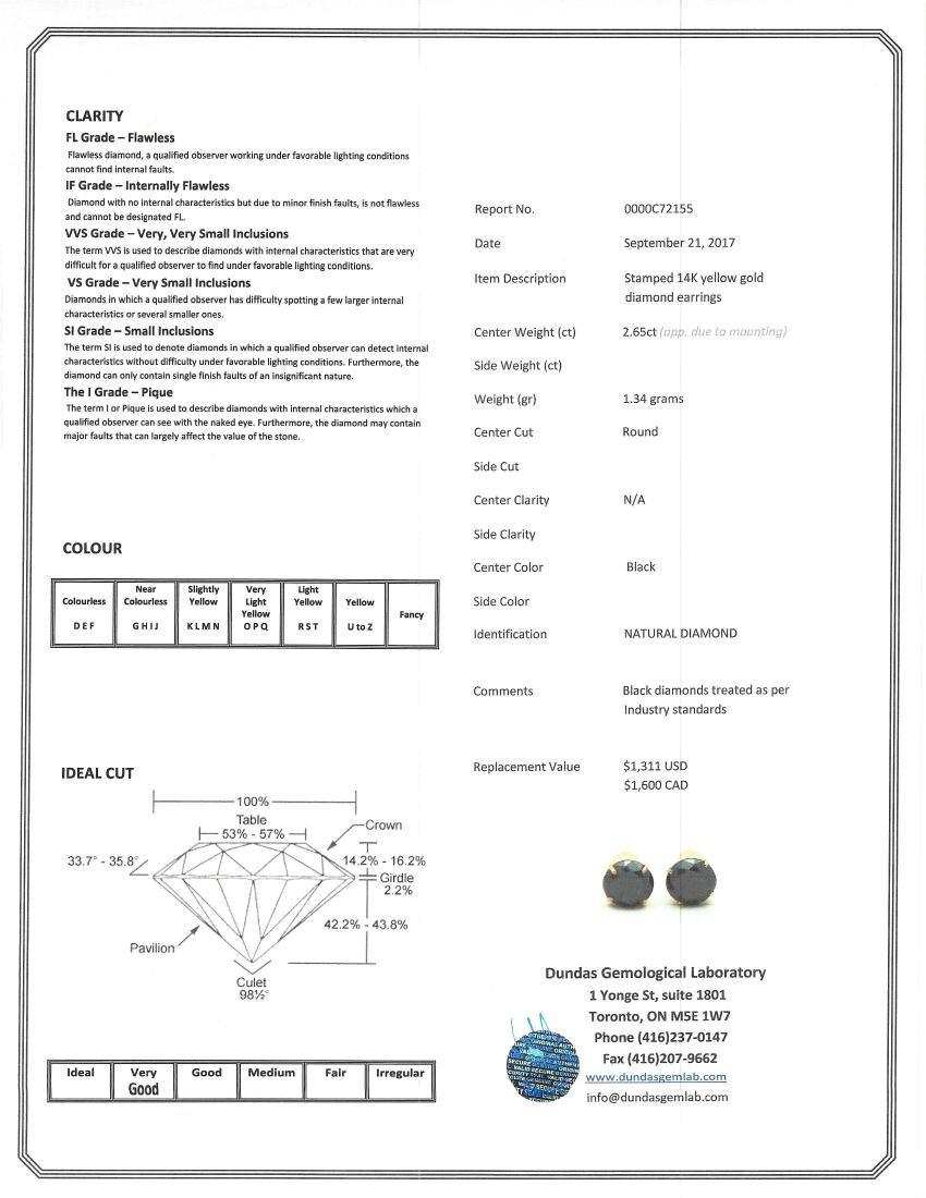 2.65ct Large Black Diamond Earrings CRV$1600 - 5