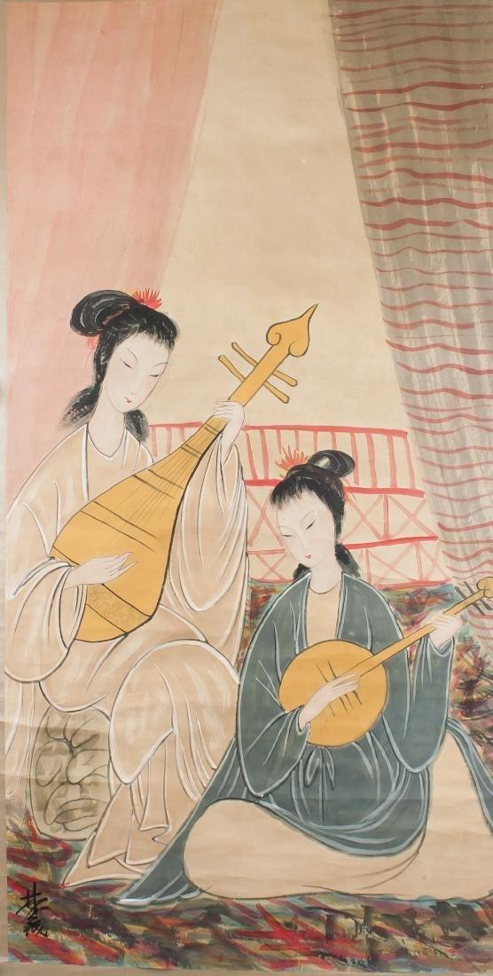 Lin Fengmian 1900-1991 Chinese Watercolour Beauty