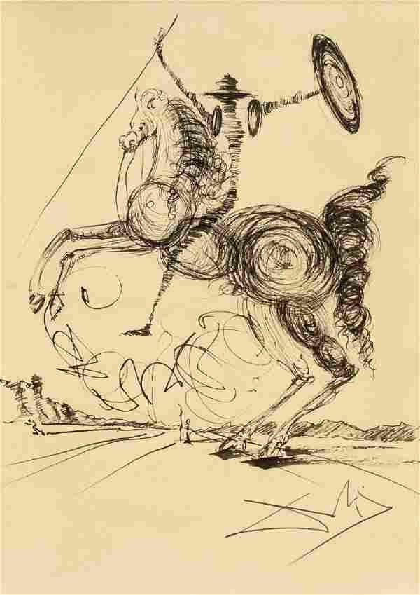 Salvador Dali (1904-1989) Ink Sketch Don Quixote