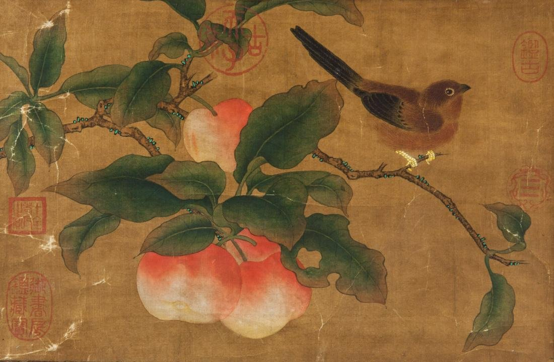 Late 18th Century Watercolor on Silk Peaches