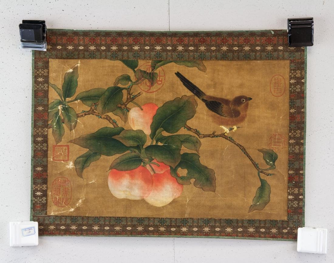 Late 18th Century Watercolor on Silk Peaches - 2