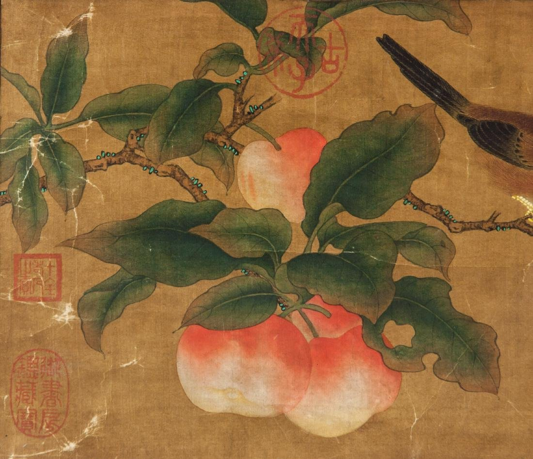Late 18th Century Watercolor on Silk Peaches - 3