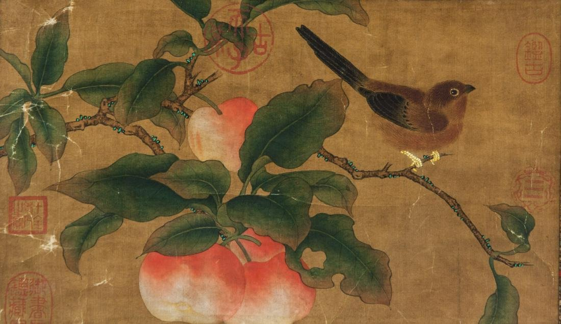 Late 18th Century Watercolor on Silk Peaches - 5