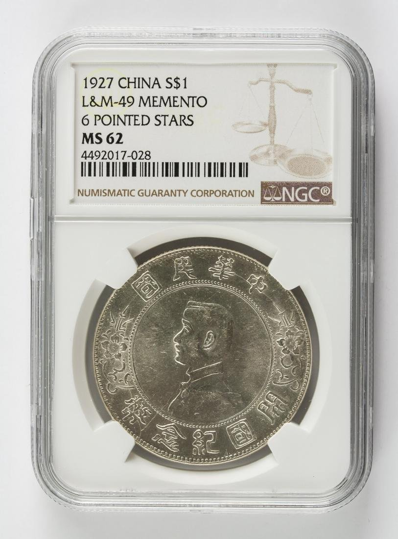 1927 China Memento 1 Dollar Silver NGC Graded MS62
