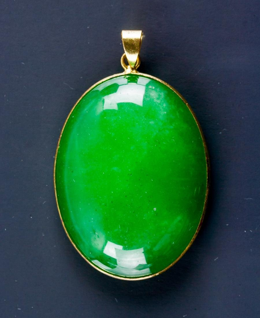 Chinese Green Hardstone Carved Pendant