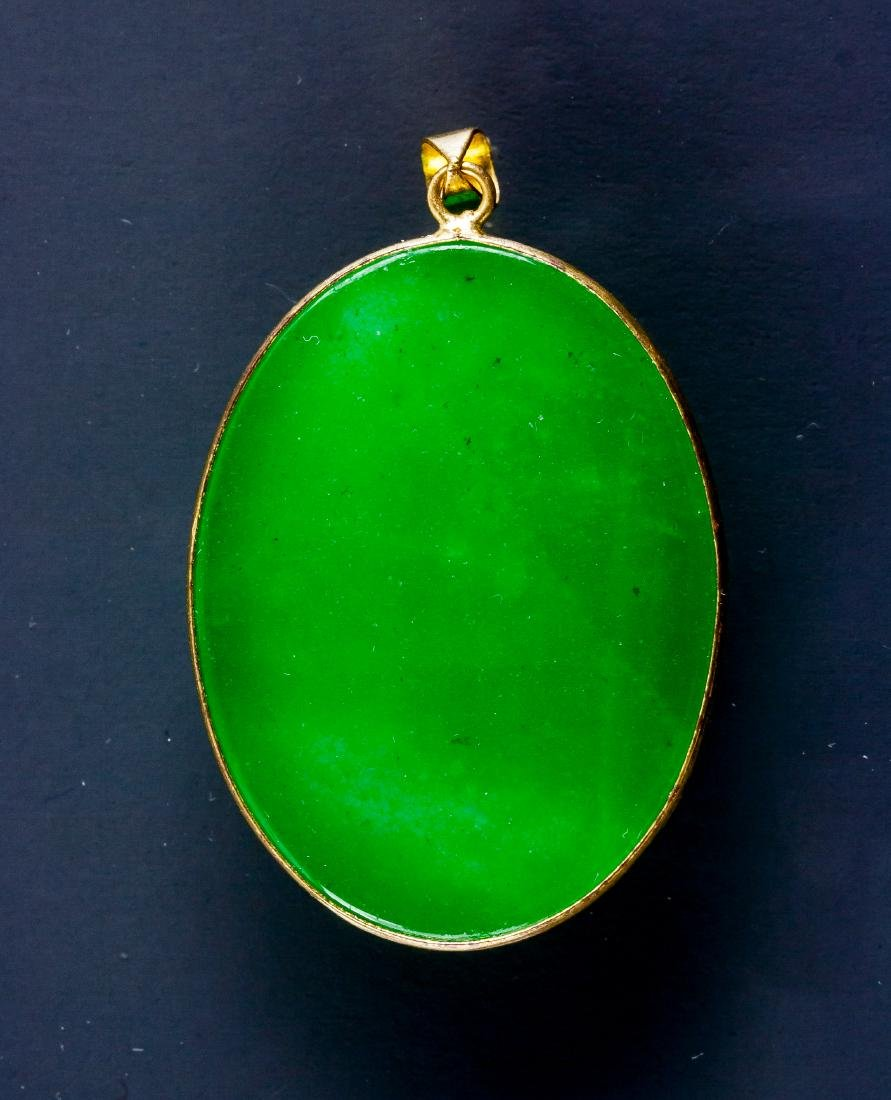 Chinese Green Hardstone Carved Pendant - 2
