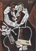 Pablo Picasso (Spanish, 1881-1973) Cubist Tempera