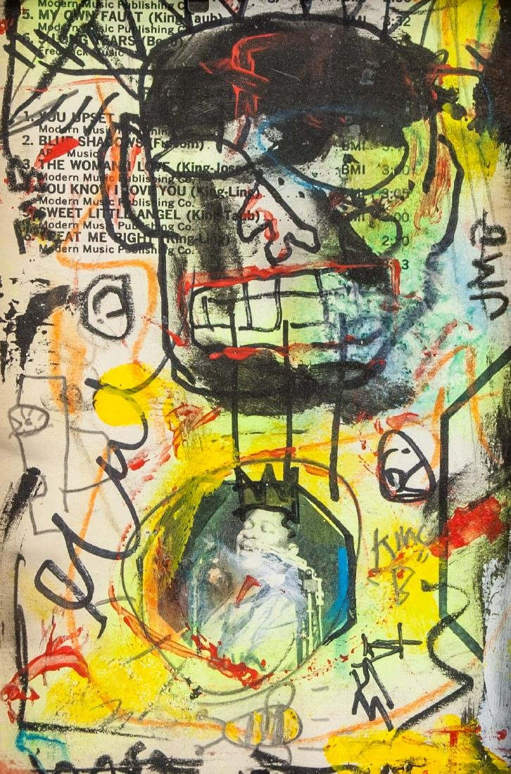 Jean-Michel Basquiat 1960-1988 Mixed Media Board