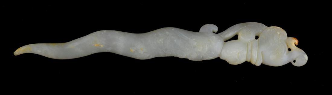 Hetian White Jade Carved Hair Pin - 2