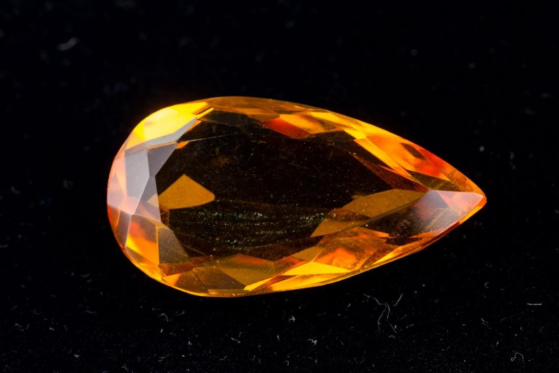 FACETED 47 Ct. Brazilian Yellow Citrine Pear Cut