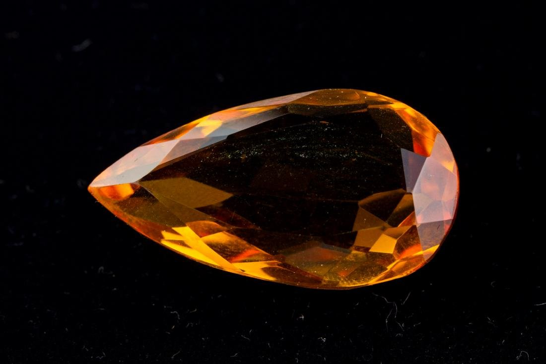 FACETED 47 Ct. Brazilian Yellow Citrine Pear Cut - 2
