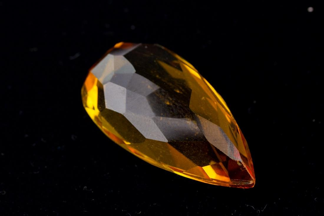 FACETED 47 Ct. Brazilian Yellow Citrine Pear Cut - 3