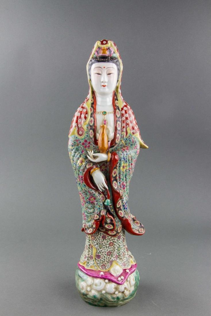 Chinese Porcelain Guanyin Statue Zeng Longsheng Mk