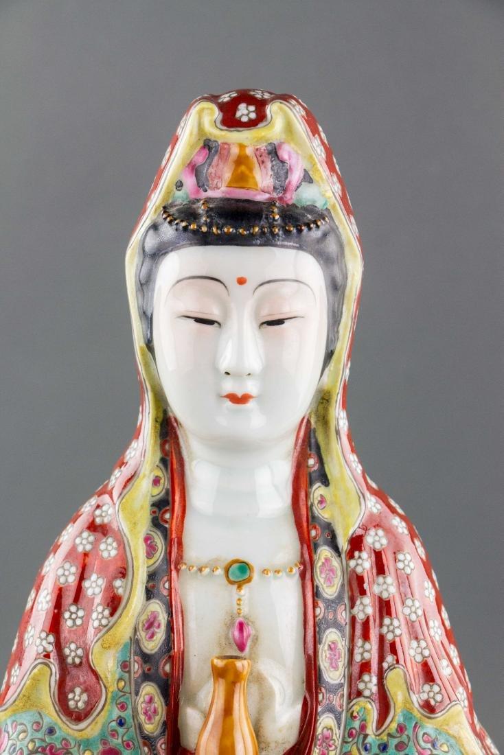 Chinese Porcelain Guanyin Statue Zeng Longsheng Mk - 2
