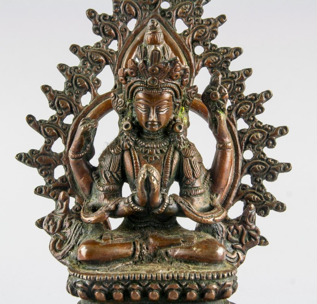 Chinese Bronze Four-Arm Guanyin Statue Loose Hinge - 2