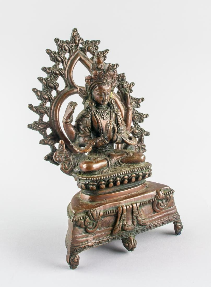 Chinese Bronze Four-Arm Guanyin Statue Loose Hinge - 3