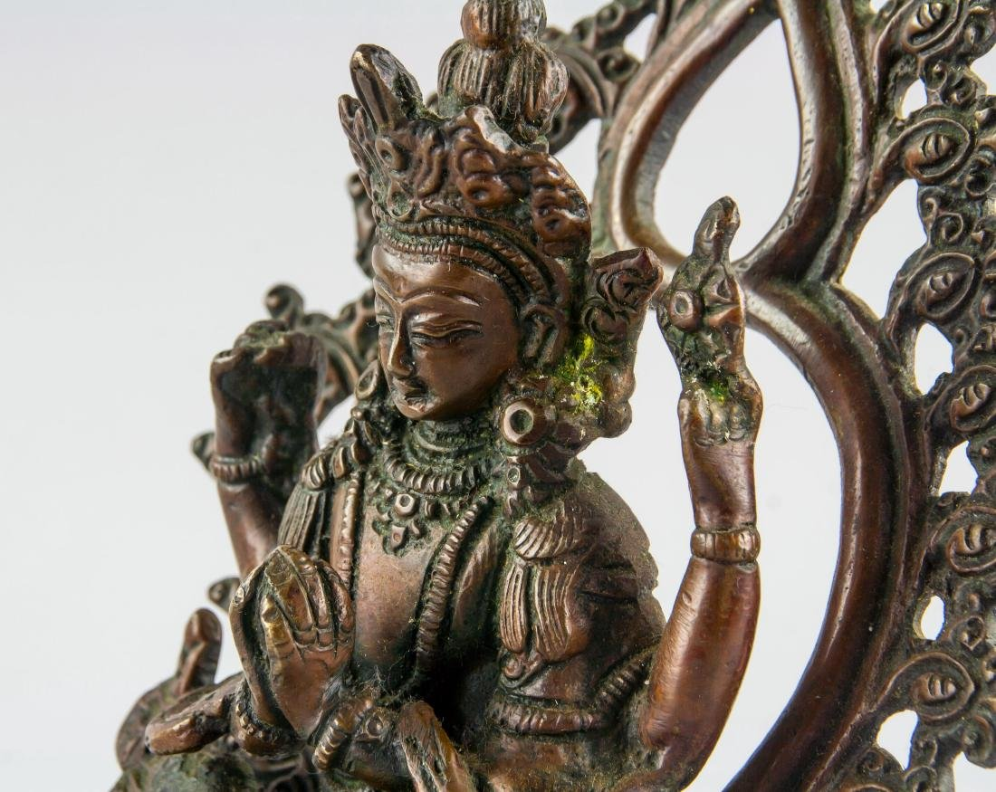 Chinese Bronze Four-Arm Guanyin Statue Loose Hinge - 7