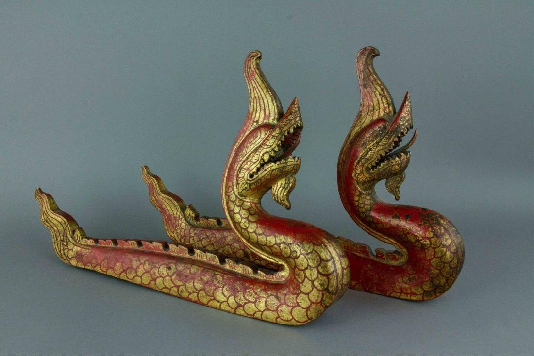 Chinese Gilt Red Dragon Carved on Wood