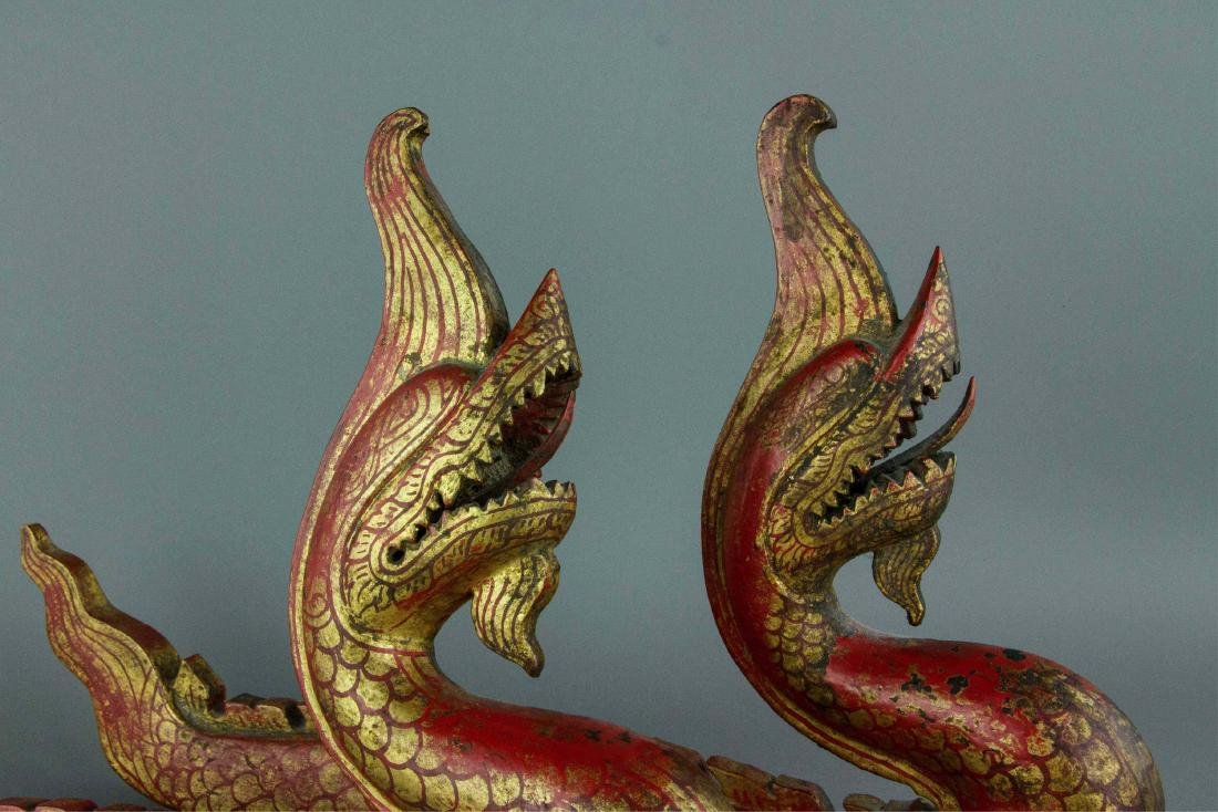 Chinese Gilt Red Dragon Carved on Wood - 2