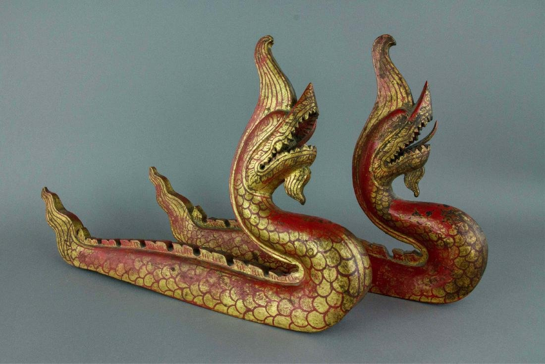 Chinese Gilt Red Dragon Carved on Wood - 3