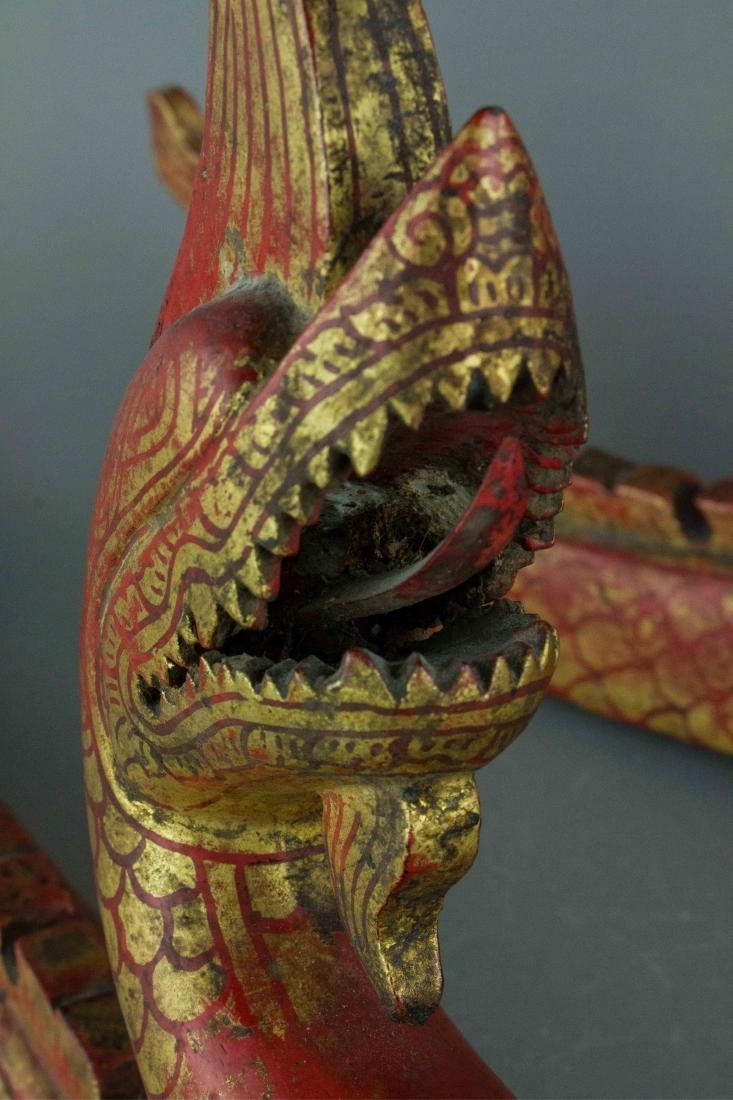 Chinese Gilt Red Dragon Carved on Wood - 4