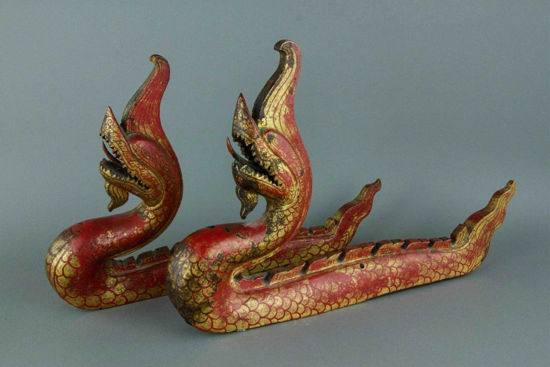 Chinese Gilt Red Dragon Carved on Wood - 5