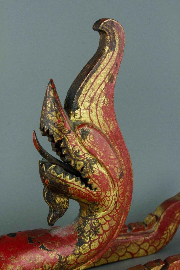Chinese Gilt Red Dragon Carved on Wood - 6