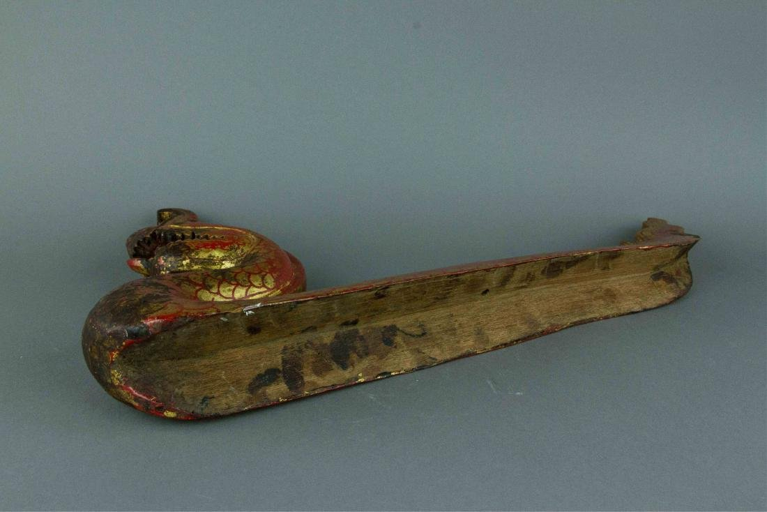 Chinese Gilt Red Dragon Carved on Wood - 8