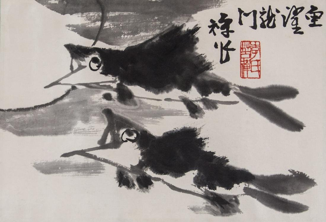 Li Kuchan 1899-1983 Chinese Ink on Paper Roll