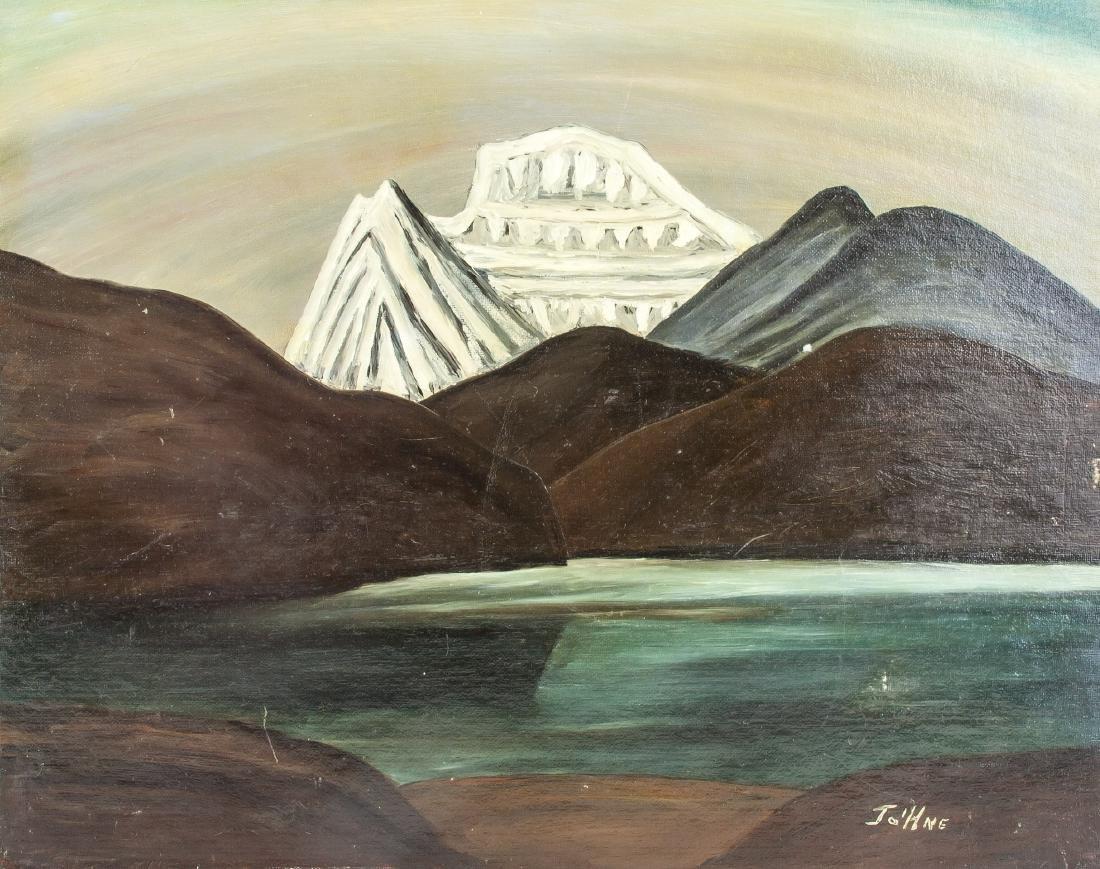 John E. Mountain Scene Oil on Board