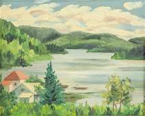 J MacDonald Canadian c1944 Cottage Scene