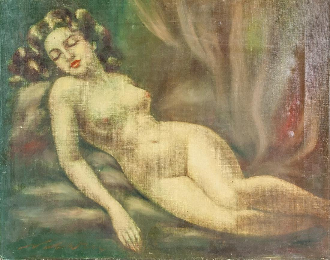 Signed Oil on Canvas of Nude