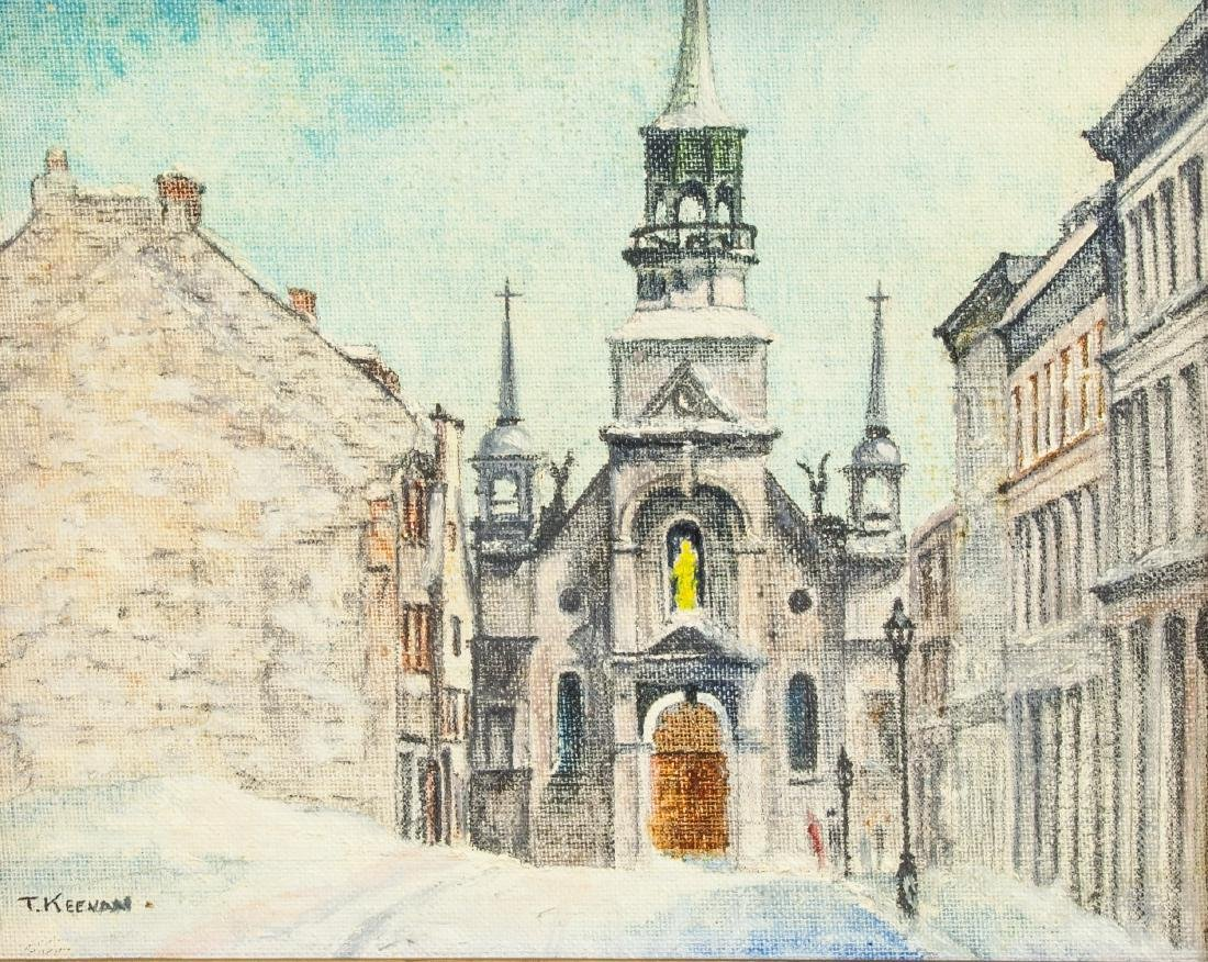 Thomas Keenan Oil on Board Old Montreal Cathedral