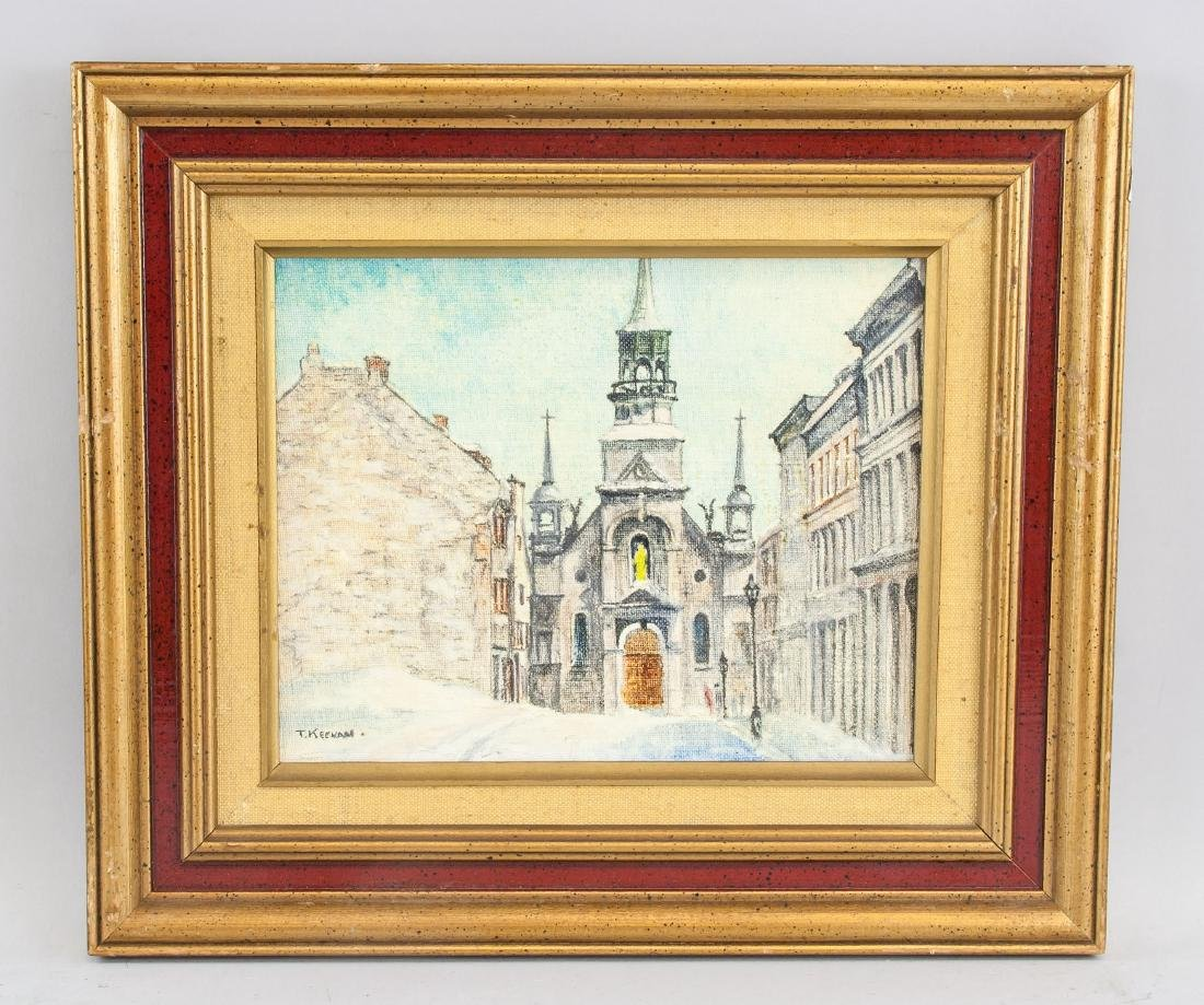 Thomas Keenan Oil on Board Old Montreal Cathedral - 2