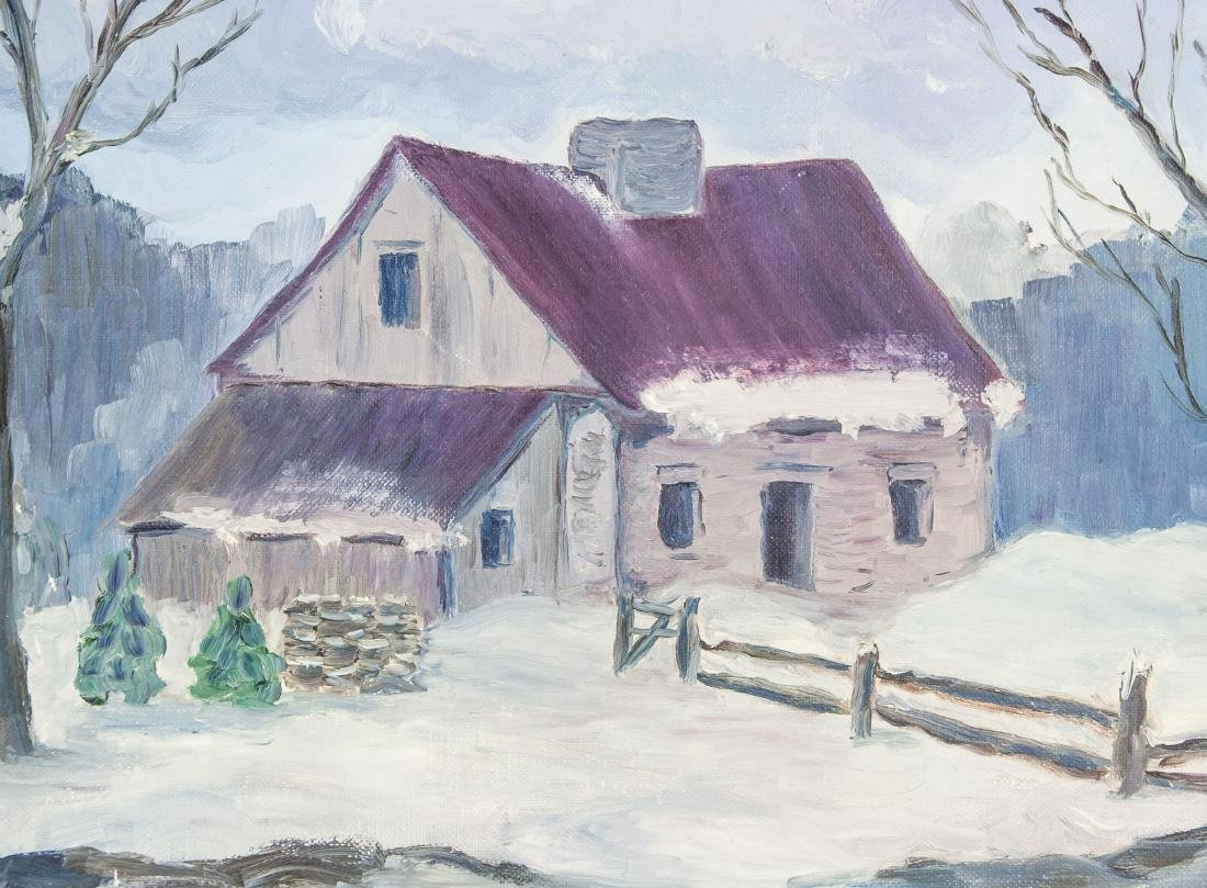 Domonique Bock Winter Landscape w/House Along Rive - 3