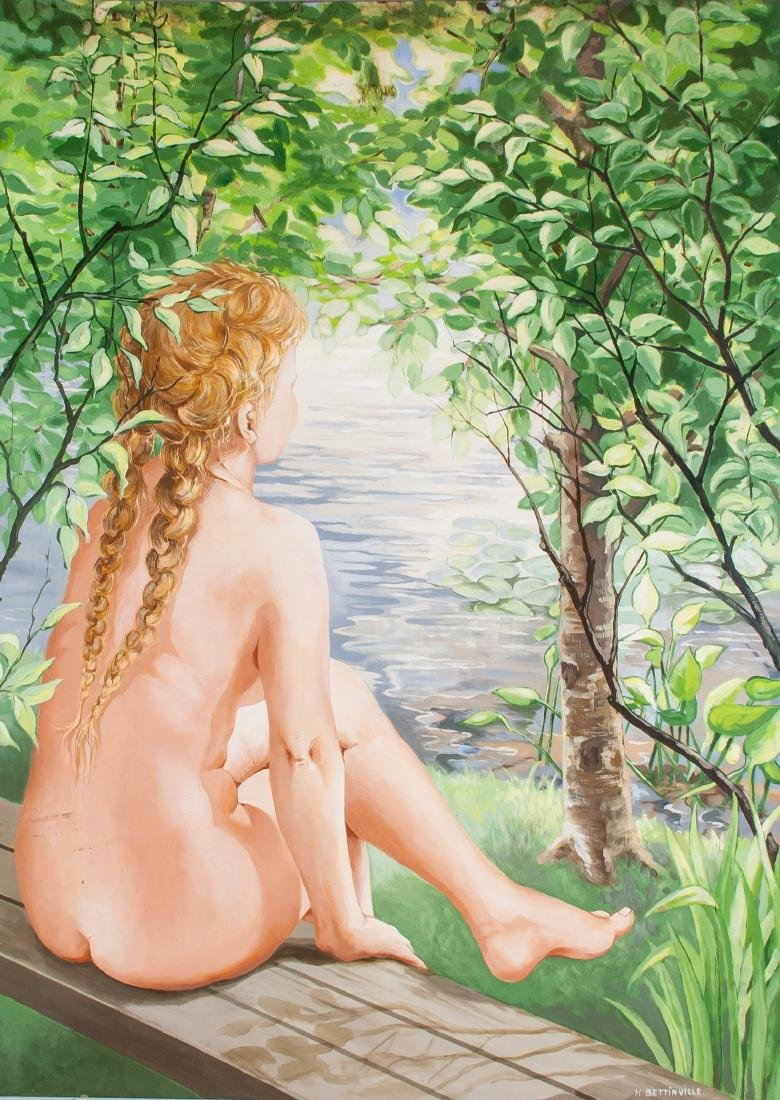 H. Bettinville Canadian Oil on Board Nude