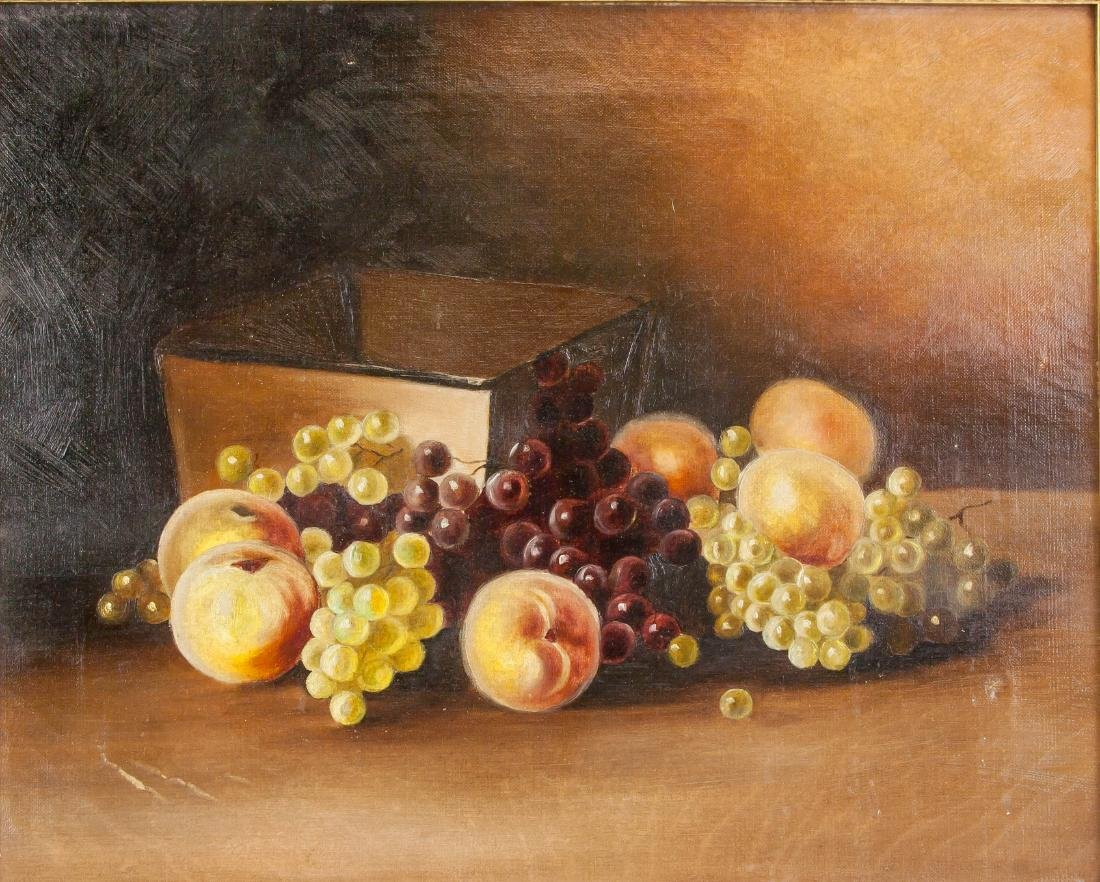 Victorian Still Life OOC Painting Of Fruit