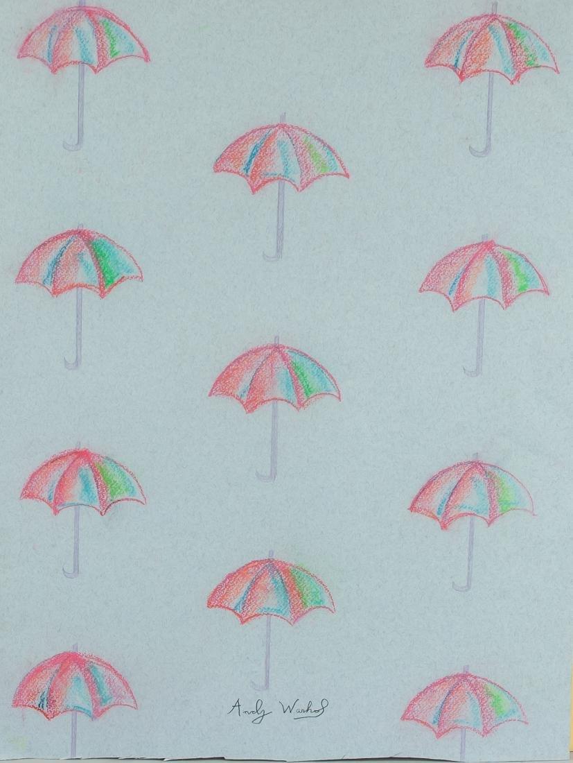 "Attr Andy Warhol 1928-1987 Pastel Paper "" Parasol"""