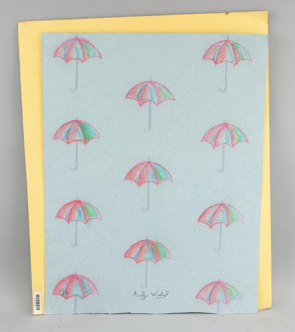 "Attr Andy Warhol 1928-1987 Pastel Paper "" Parasol"" - 2"